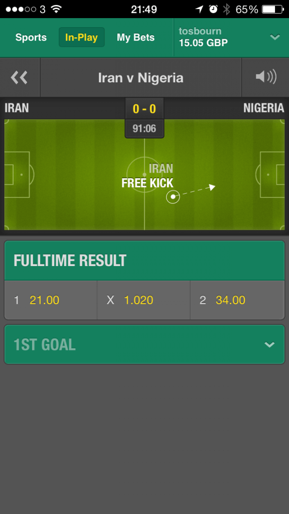 Bet 365 In Play View iPhone