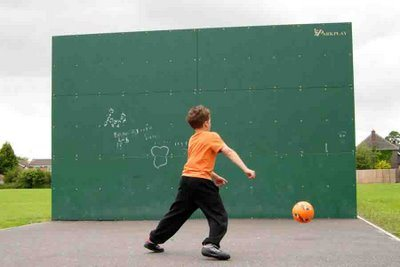 football against a wall