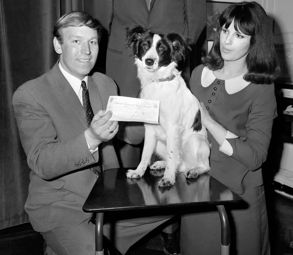 Black and white photo of pickles the dog standing between two people, one person is holding a cheque in front of the dog